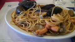 Italian Pasta with fish Stock Footage