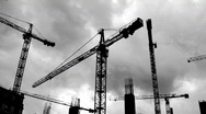 Stock Video Footage of Time-lapse cranes tower cranes 2 (black and white)