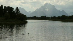 Oxbow Bend Overlook in Grand Tetons National Park Stock Footage