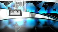 HD Virtual TV studio news set with globe/earth map in background Stock Footage
