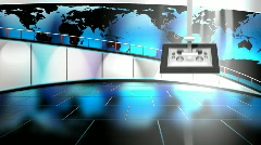 HD Virtual TV studio news set with globe/earth map in background - stock footage