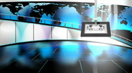 Stock Video Footage of HD Virtual TV studio news set with globe/earth map in background