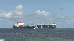 Huge tanker ships passing Stock Footage
