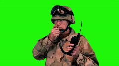 Green screen soldier on radio Stock Footage