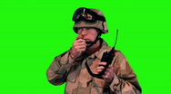 Stock Video Footage of green screen soldier on radio