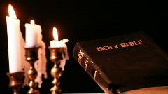 Candle light bible Stock Footage