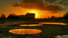 Sunset over water ponds hdr time lapse Stock Footage