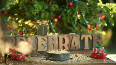 Birds fight at holiday feeder Stock Footage