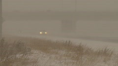Weather, blizzard on highway, white-out conditions Stock Footage