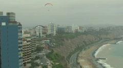 Follow gliders in Miraflores, Lima, Peru Stock Footage