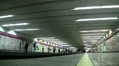Metro arrives and stops in Mexico City Stock Footage