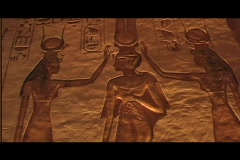 Abu simbel queen temple interior heiro 03 Stock Footage