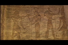 Abu simbel queen temple interior heiro 01 Stock Footage