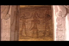 Abu simbel queen temple interior columns Stock Footage
