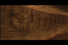 Abu simbel interior room pan Stock Footage