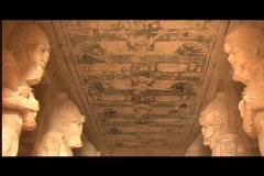 Abu simbel interior pan down Stock Footage