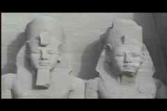 Abu simbel exterior statue heads still Stock Footage