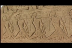 Abu simbel exterior frieze pan Stock Footage