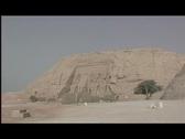 Abu simbel complex exterior pan Stock Footage