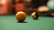 Stock Video Footage of Hitting Cue Ball with Pool Stick