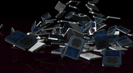 Musical mp3 player falling on reflective floor, Alpha Channel Stock Footage