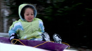 Stock Video Footage of Winter Sledding Fun 1286