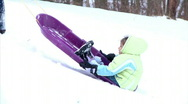 Winter Sledding Fun 1287 Stock Footage