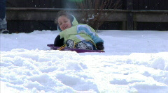 Winter Sledding Fun 1289 Stock Footage