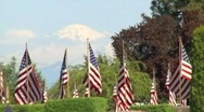 Stock Video Footage of Mountain and US Flags