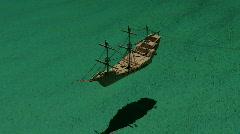 Carribean sailing pirate ship galleon Stock Footage