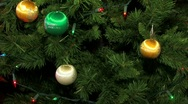 Christmas tree decorated with lights colorful balls Stock Footage
