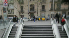 Placa universidad barcelona tourist crowd people Stock Footage