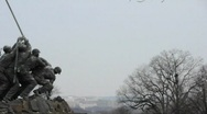 Pan of Iwa Jima Memorial with Capital and Washington Monument Behind 02 Stock Footage