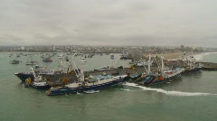 Maritime transportation, tuna fishing fleet at dock Stock Footage