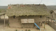 Thatch roof hut, rural Equador Stock Footage