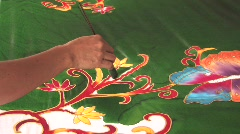 Making Batik Fabric Bali Traditional Textile Design Painting Material Pattern Stock Footage