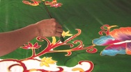Stock Video Footage of Making Batik Fabric Bali Traditional Textile Design Painting Material Pattern