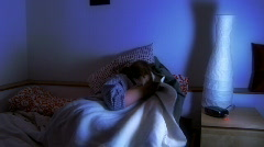 girl having trouble sleeping - stock footage