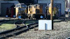Railyard, train locomotives Stock Footage