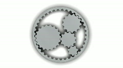 Metallic Gears (Loop + Alpha) Stock Footage