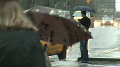 People and traffic in the rain in New York Stock Footage