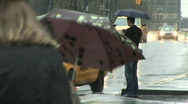 Stock Video Footage of People and traffic in the rain in New York