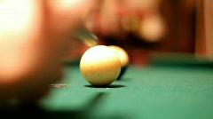 Shooting Pool Ball into Pocket Stock Footage