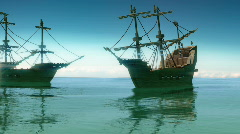 113 Pirate ships sailing 1700s - stock footage