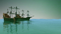 113 Pirate ships idle in ocean sailing nautical - stock footage
