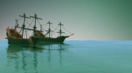 Stock Video Footage of 113 Pirate ships idle in ocean sailing nautical