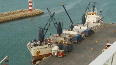 Cargo reefer ship at dock Stock Footage