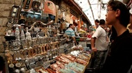 Stock Video Footage of Mahane Yehuda Market in Jerusalem
