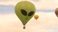 Hot Air Balloon Alien Smile Face Stock Footage