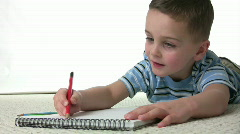 Stock Video Footage of Father Son Coloring CloseUp